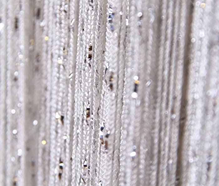 with silver metallic thread curtain