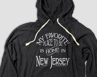 New Jersey Home Hooded Tee with Pockets, My Favorite Place To Be Is Home In New Jersey