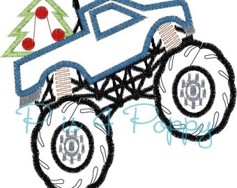 Christmas monster truck applique design instant download