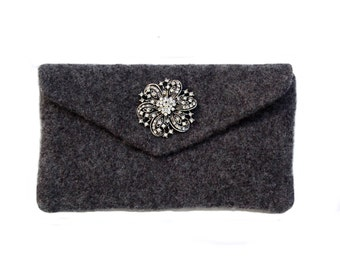 "Charcoal Grey Felted Clutch - Felted clutch complete with a removable rhinestone brooch and a removable 42"" purse chain"