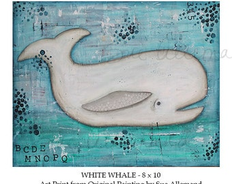 """WHITE WHALE, Original Art Print 10"""" x 8"""", Mixed Media Painting by Sue Allemand, Children's Nursery Art, Inspirational Coastal Abstract Decor"""