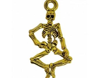 26x14mm Skull Bracelet & Necklace Charm Antique Gold 2 pcs
