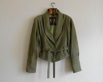 Vintage Green Leather Jacket UK 10 - 12