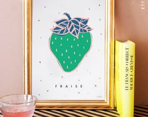 french - Strawberry/ fraise illustrated art print. home decor. kitchen decor. yellow. gold leaf. fruit print.