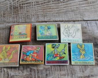 "7 Vintage Stereo  Pins ... pinback button ... badge ... Soviet  ... Cartoon heroes  ""Nu pogodi"""