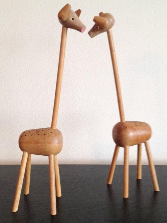 Items similar to pair of vintage wooden giraffe toothpick holder on etsy - Wooden pocket toothpick holder ...