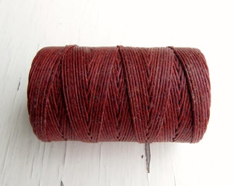 10 yards dark rust waxed linen cord 4ply, orange brown cord, irish waxed linen cord, russet cord, rust waxed cord