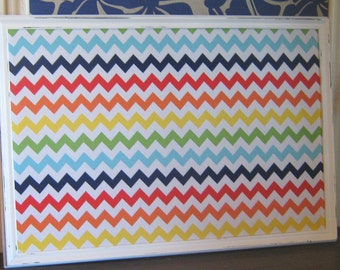 Gloss White Modern Frame Rainbow Chevron Pin Board or Magnetic Board Many Sizes Cork Board Office Bulletin Board Kitchen Play Room