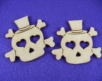 Skull, wood,10 x 9 cm, 2 pieces (19-0006A)
