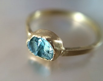 18kt Recycled Gold Raw Blue  Engagement Ring- Conflict Free Rustic Aqua Engagement Ring