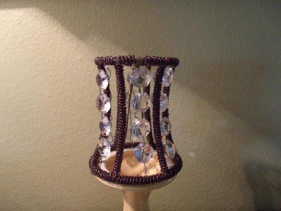 Vintage set of 8 beaded chandelier lamp shades with glass for How to make beaded chandelier lamp shades