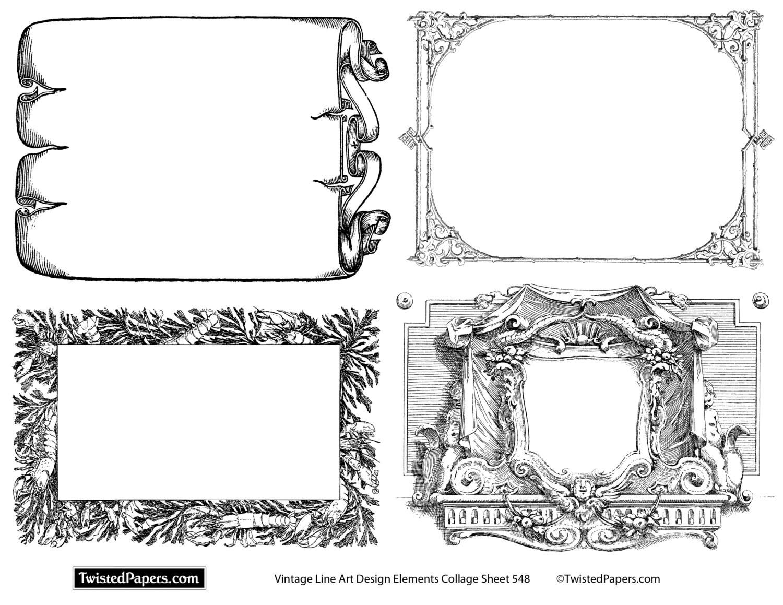 Line Art Frames : Line art frames borders vintage clip design elements