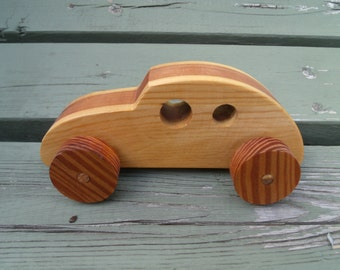 Handmade, 2-tone, beetle-bug wooden toy car with beautifully striped wheels, eco-friendly, wooden toy car, wooden car, organic wooden toy