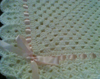 Crochet Baby Blanket Afghan Cream Christening Baptism Granny Square Pink Girl