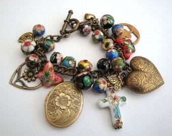 Charm bracelet, locket, cloisonne beads, vintage inspired, heart, brass, antique bronze