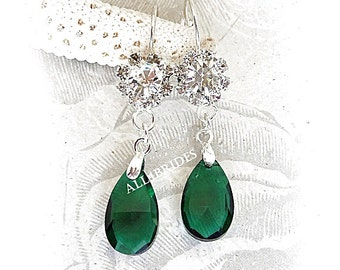 Emerald Green Earrings - Bridal Bridesmaid Wedding Jewelry - Teardrop Crystal Earrings