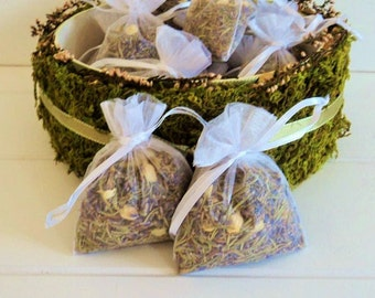 ELIZABETHAN WEDDING HERBS, 10 fragrant Herbal Sachets, Biodegradable Confetti, Ecofriendly,  Sachet, Wedding Favors, for fairy tale endings