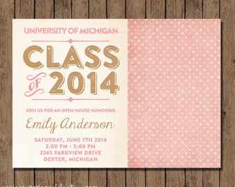 Pink and Gold Graduation Invitation - PRINTABLE - Digital - Vintage - Retro - Open House