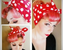 Red with Big White Polka Dots Double WIDE Headwrap Bandana Hair Bow Tie Rosie the Riveter 1950s Vintage Style - Rockabilly - Pin Up