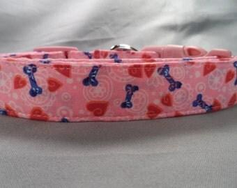 Dog Collar Pink Puppy Hearts and Bones