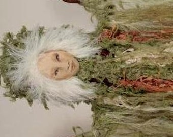 Forest Guardian Spirit Doll, OOAK, Hand-painted face
