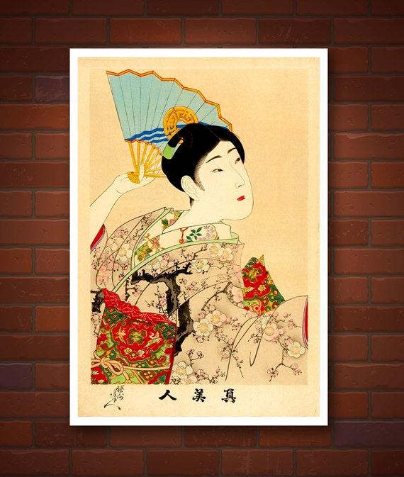 Photo of antique geisha paintings