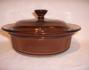 VISIONS V-30-B Amber Baking Dish with Lid