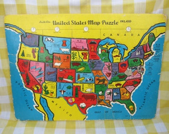 2 Jigsaw Puzzles; 1950 US 48 States puzzle; dogs and horses