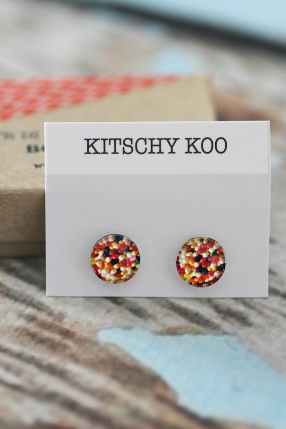 FREE POSTAGE - Sprinkles - Hundreds And Thousands - Fairy Bread Earrings - Surgical Steel Free Postage - Sensitive Ears