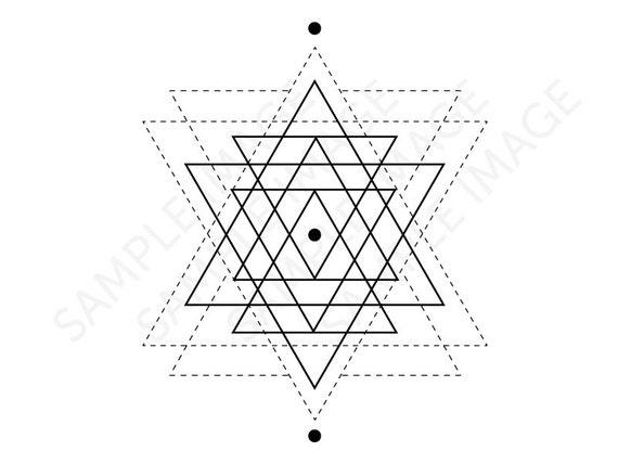 Medium Size Temporary Fake Tattoo Geometric Start By