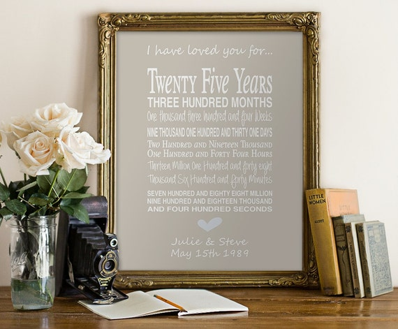 What Gift For 25th Wedding Anniversary: 25th Anniversary Gift Personalised By PinkMilkshakeDesigns