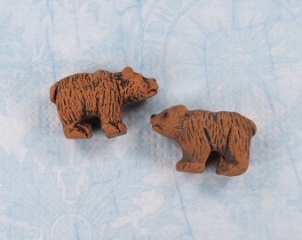 Brown Bear Small Peruvian Ceramic Beads - Item 1173