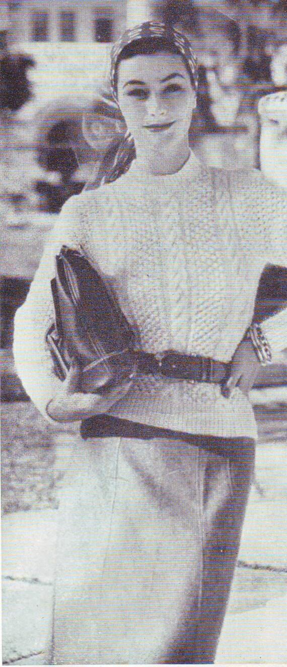 Free Vintage Vogue Knitting Patterns : Items similar to Vintage Vogue Aran Sweater 1950s Knitting Pattern PDF on Etsy