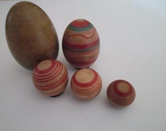 Antique Victorian,Treen, Handpainted, Wooden Eggs