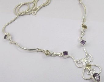 Amethyst, Citrine Necklace Plated with 925 Sterling Silver Jewelry Handmade Exclusive Designer