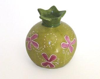 Candlestick Pomegranate, Ceramic Pomegranate, Pomegranate with painted Pomegranates, Hand painted pomegranate, Home Decor