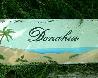 Beach Sign Custom Sign Tropical Sign Painted Sign Wood Sign Palm Tree Sign
