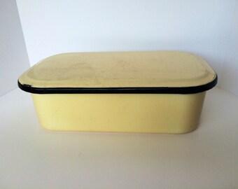 Large Enamel Refrigerator Dish W/Lid