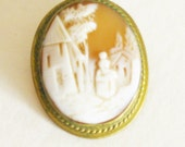 Antique Shell Cameo Brooch Estate Jewelry Pin Rebecca at the Well Victorian Landscape Brooch Pendant Gold Filled Setting Antique 1800's.