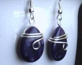 Lapis Earrings * Blue Earrings  * Navy Earrings * Gemstone * Stone * Handmade Earrings * Beaded Earrings * Wire Wrap * Wire Wrapped