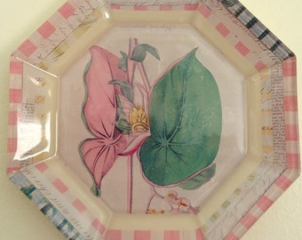 Reverse Decoupage Glass Octagonal Plate with Vintage Ephemera Botanical Print