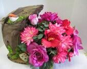 Driftwood Floral arrangement with bird OOAK