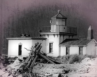 Lighthouse Photo, Black and white, Vintage look, Seattle Wa., Fine Art Image, West Point Lighthouse Photo,