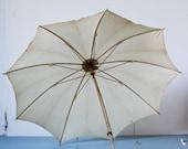 French Antique Parasol - early century beige umbrella - metal handle