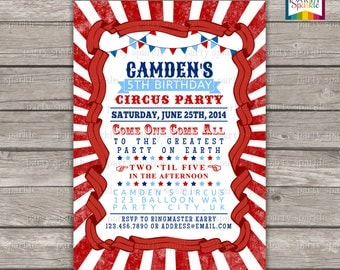 Red, White and Blue Circus Birthday Invite - Printable Personalized Digital Photo Invitation 4x6 or 5x7 jpg or pdf