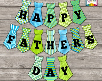 INSTANT DOWNLOAD - Happy Father's Day Tie Bunting Banner - Digital Printable pdf file