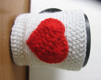 Mug Cozy, Cup Cosy, Mug Warmer knitted, Heart Cup Cozy. Gift Idea. Gift under 10 USD. Sale 20%.