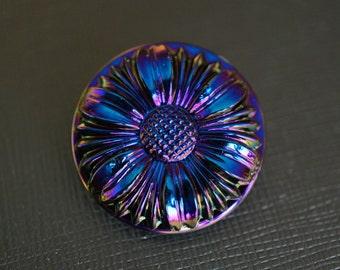 Hand Made Art Czech Glass Button Flower  Dark Blue size 12, 27mm 1pc (BUT023/12)