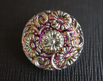 Hand Made Art Czech Glass Buttons, size 10, 22.5mm Purple Vitrail - Silver 1 pc (BUT003/10)