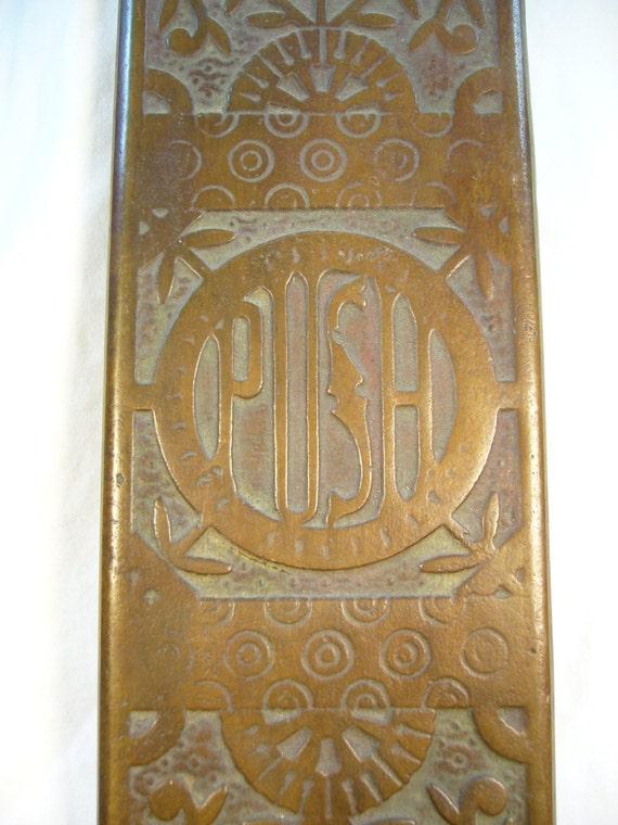 Antique Brass Door Push Plate C 1885